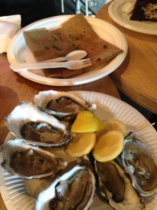 Mushroom crepe (top) and Australian Coffin Bay Oysters