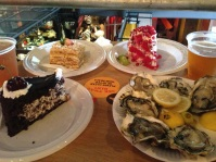 From bottom left, Drunk Cherry, Russian Napoleon, Pomegranate cake and US Taylor Bay oysters