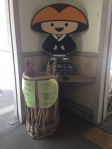 Our trusty walking sticks and Koyasan's mascot!