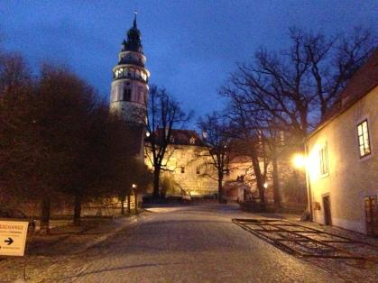 At the Cesky Krumlov Castle at Dusk