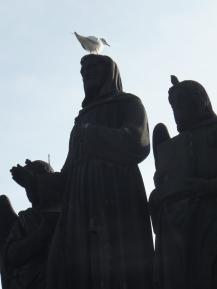 Pigeon on statue on Charles Bridge - this amused me greatly