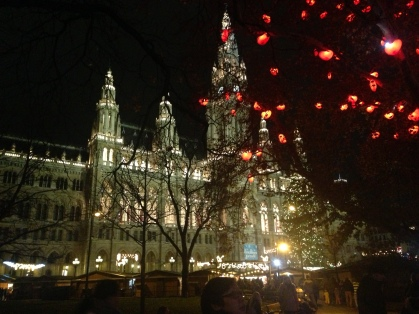 Christmas markets in Vienna are magical. This is one outside Rathaus
