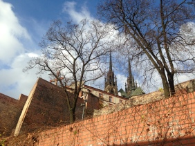 Walking up to the Cathedral of St. Peter and St. Paul, Brno