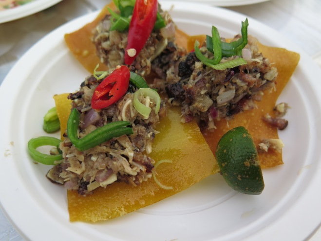Sisig in wonton cups from Bale Dutung - not for the faint-hearted, this is topped with bits from a pig's head