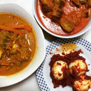 L-R: Sayur Lodeh, Chicken Rendang, Sambal Telur